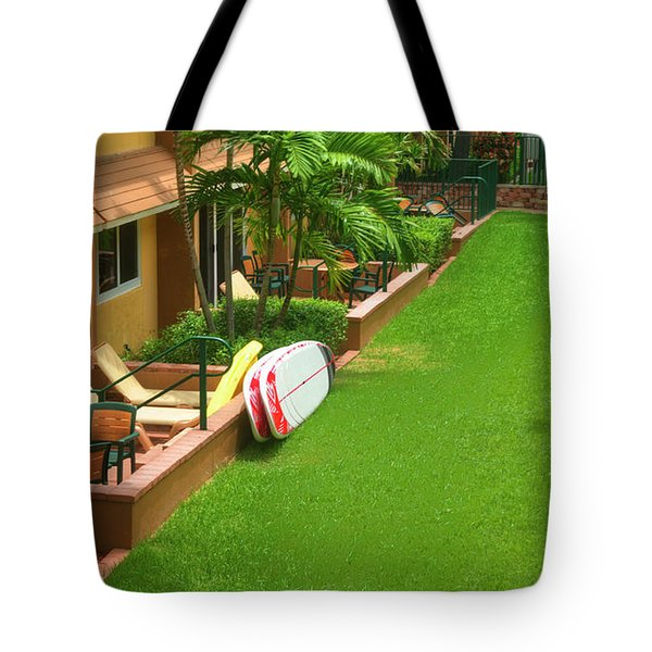 Tropical Courtyard Tote Bag