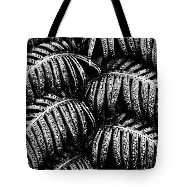 Tropical Fern Black White Tote Bag