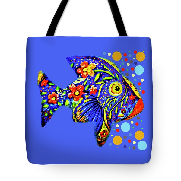 Tote Bag featuring the digital art  Tropical Fish by Eleni Mac Synodinos