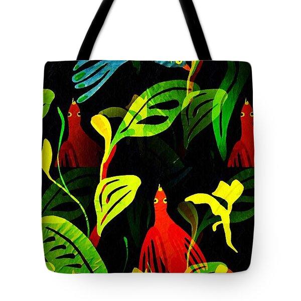Tropical Flock Tote Bag by Sarah Loft