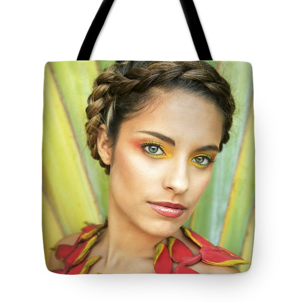 Tropical Floral Fashion Tote Bag by Brandon Tabiolo - Printscapes