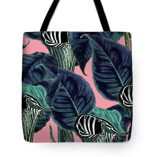 Tropical Flower Pattern Tote Bag by Uma Gokhale
