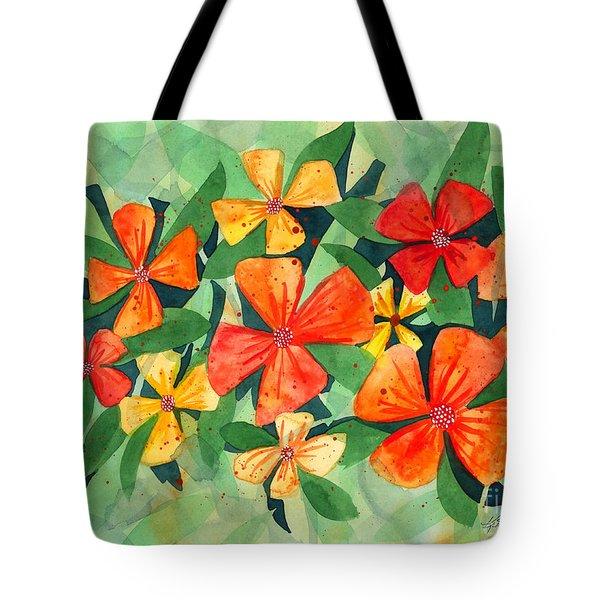 Tropical Flower Splash Tote Bag