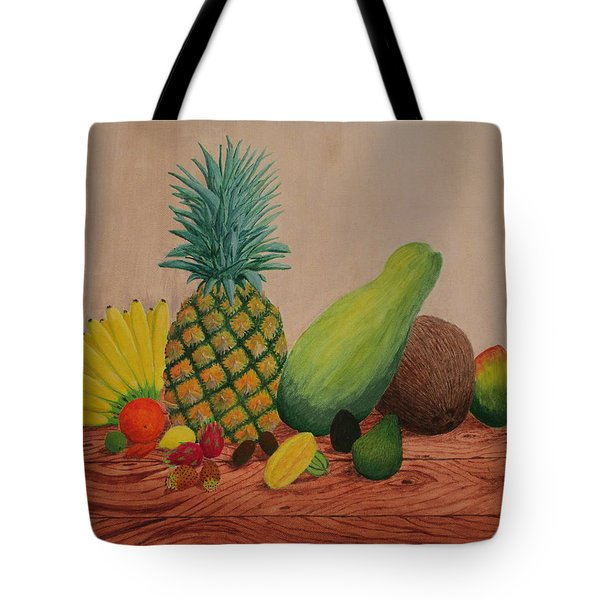 Tote Bag featuring the painting Tropical Fruits by Hilda and Jose Garrancho