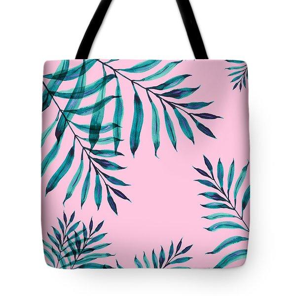 Tropical Greenery On Pink Tote Bag