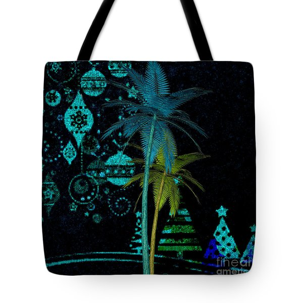 Tote Bag featuring the digital art Tropical Holiday Blue by Megan Dirsa-DuBois