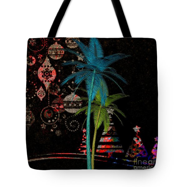 Tote Bag featuring the digital art Tropical Holiday Red by Megan Dirsa-DuBois