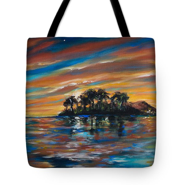 Tropical Island At Sunset Tote Bag by Linda Olsen