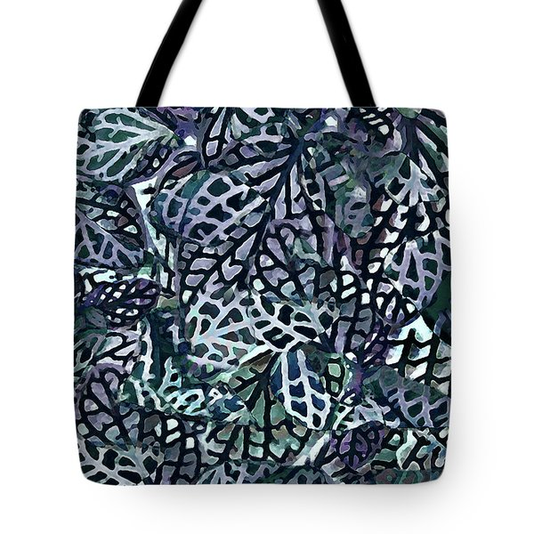 Tote Bag featuring the painting Tropical Jungle Leaves Mosaic Pattern by Menega Sabidussi