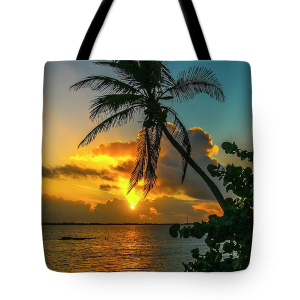 Tropical Lagoon Sunrise Tote Bag