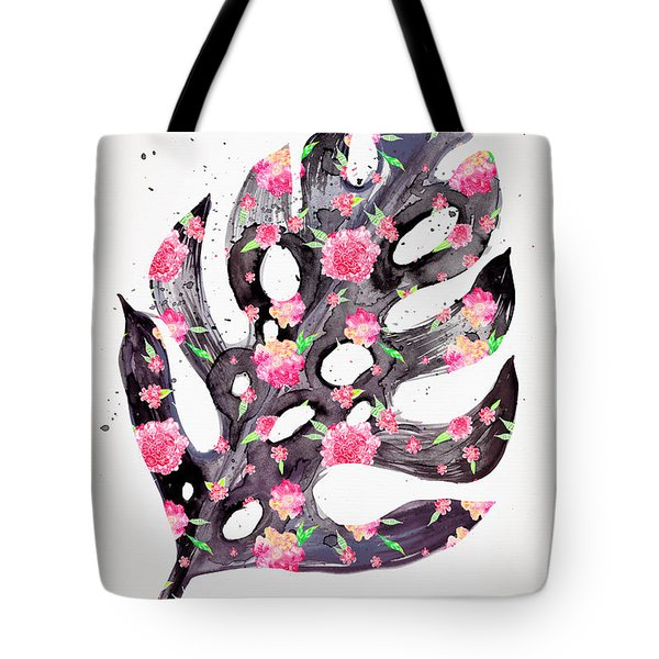 Tropical Leaf - Philodendron Black Pink Tote Bag