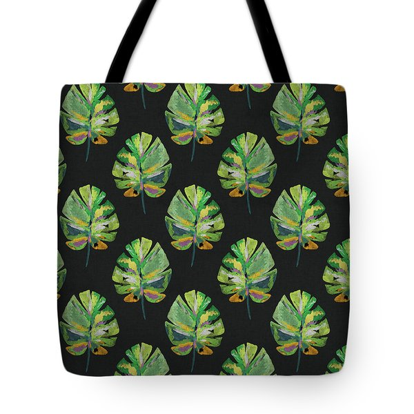 Tote Bag featuring the mixed media Tropical Leaves On Black- Art By Linda Woods by Linda Woods