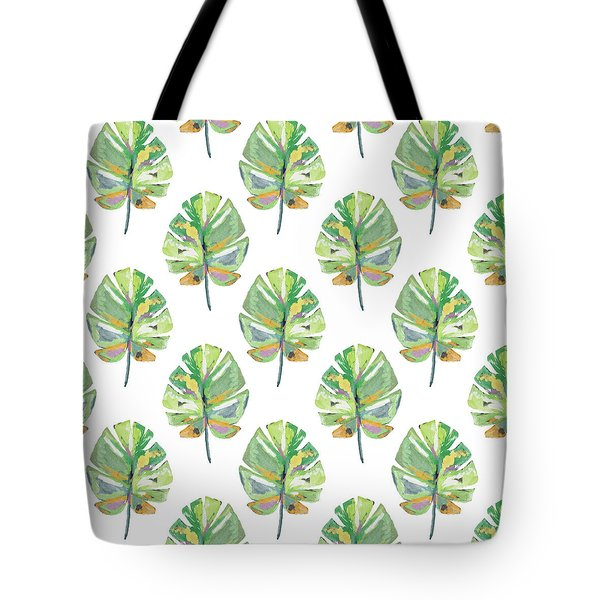 Tote Bag featuring the mixed media Tropical Leaves On White- Art By Linda Woods by Linda Woods