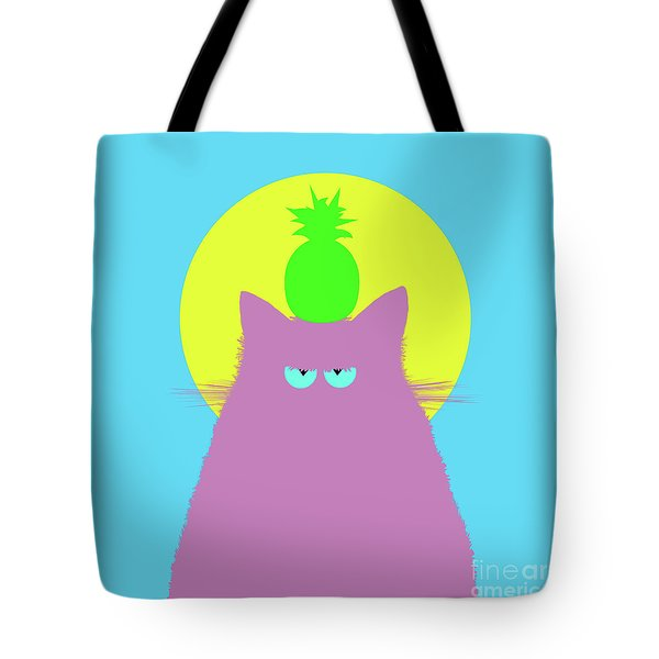 Tropical Lilac Cat Tote Bag