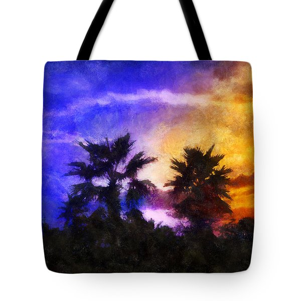 Tote Bag featuring the digital art Tropical Night Fall by Francesa Miller