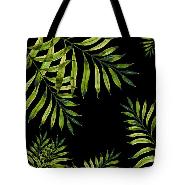 Tropical Night - Greenery On Black Tote Bag
