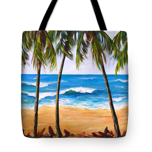 Tote Bag featuring the painting Tropical Palms 2 by Phyllis Howard