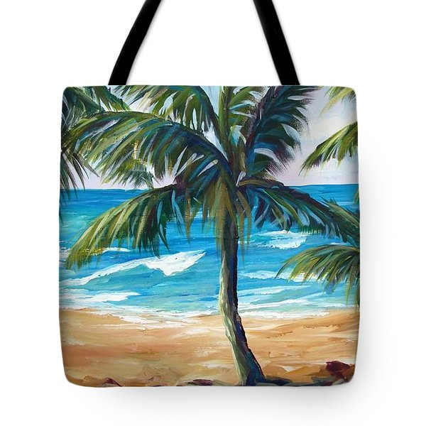 Tote Bag featuring the painting Tropical Palms I by Phyllis Howard