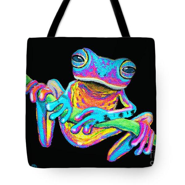 Tropical Rainbow Frog On A Vine Tote Bag by Nick Gustafson