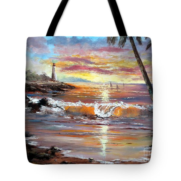 Tropical Sunset Tote Bag by Lee Piper