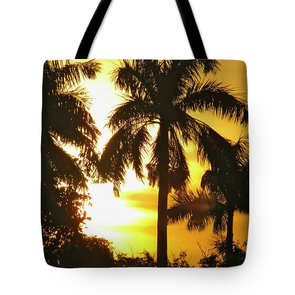 Tropical Sunset Palm Tote Bag