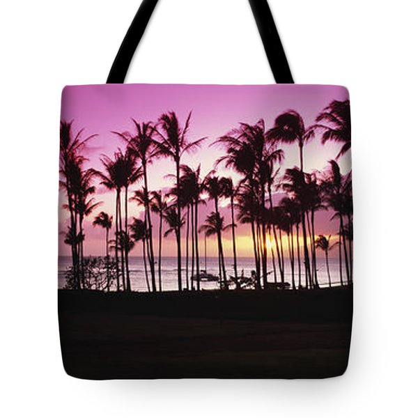 Tropical Sunset With Magenta Sky Tote Bag