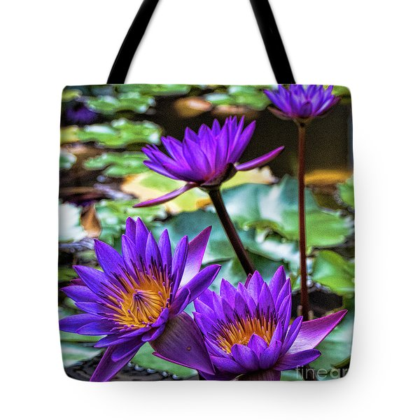 Tropical Water Lilies Tote Bag by Karen Lewis