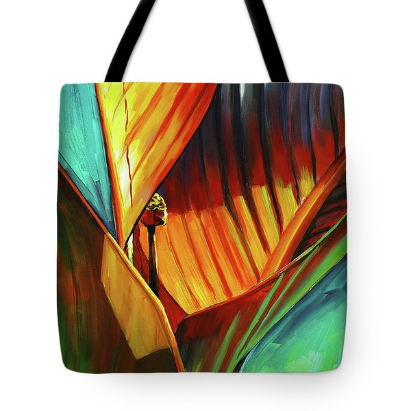 Tote Bag featuring the painting Tropicanna Canna by Lesley Spanos
