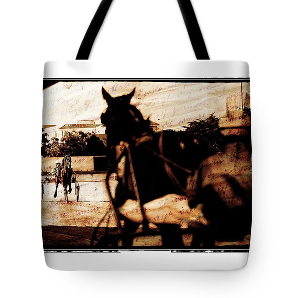 Tote Bag featuring the photograph trotting 1 - Harness racing in a vintage post processing by Pedro Cardona