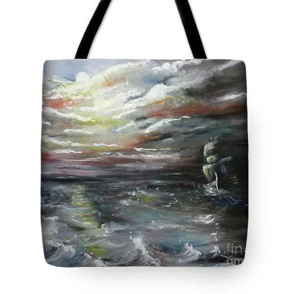 Tote Bag featuring the painting Troubled Waters Complete by Isabella F Abbie Shores FRSA