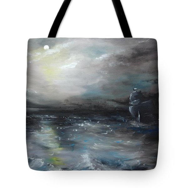Tote Bag featuring the painting Troubled Waters by Isabella F Abbie Shores FRSA