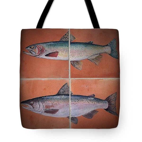 Trout And Salmon Tote Bag by Andrew Drozdowicz