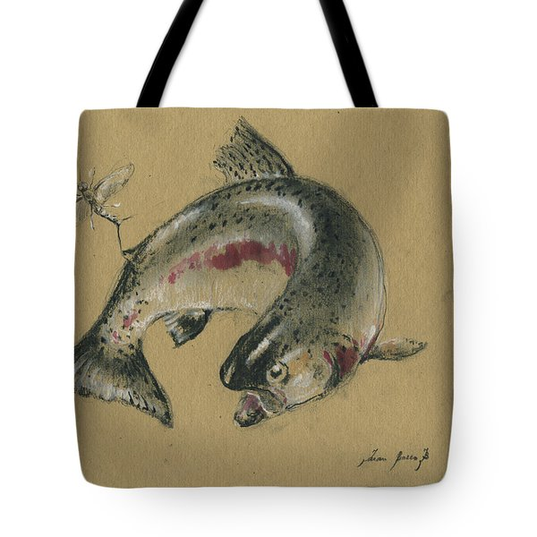 Trout Eating Tote Bag