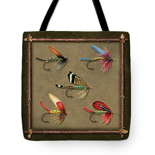 Trout Fly Panel Tote Bag