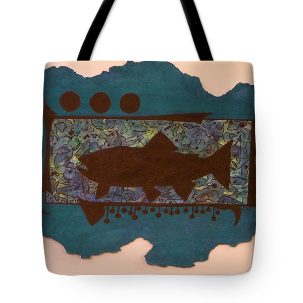 Trout Silhouette Tote Bag