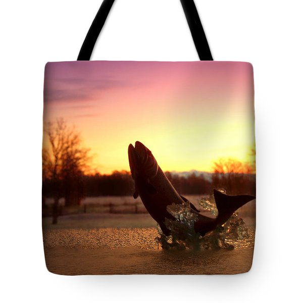 Trout Sunrise Tote Bag by Joyce Dickens