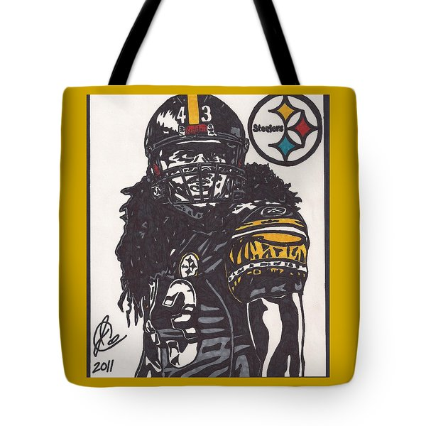 Tote Bag featuring the drawing Troy Polomalu 1 by Jeremiah Colley
