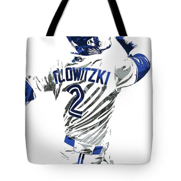Tote Bag featuring the mixed media Troy Tulowitzki Toronto Blue Jays Pixel Art 2 by Joe Hamilton