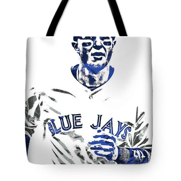 Tote Bag featuring the mixed media Troy Tulowitzki Toronto Blue Jays Pixel Art by Joe Hamilton