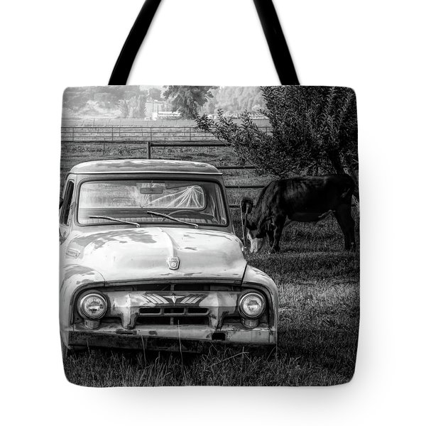Truck And Cows Living Together Bw Tote Bag