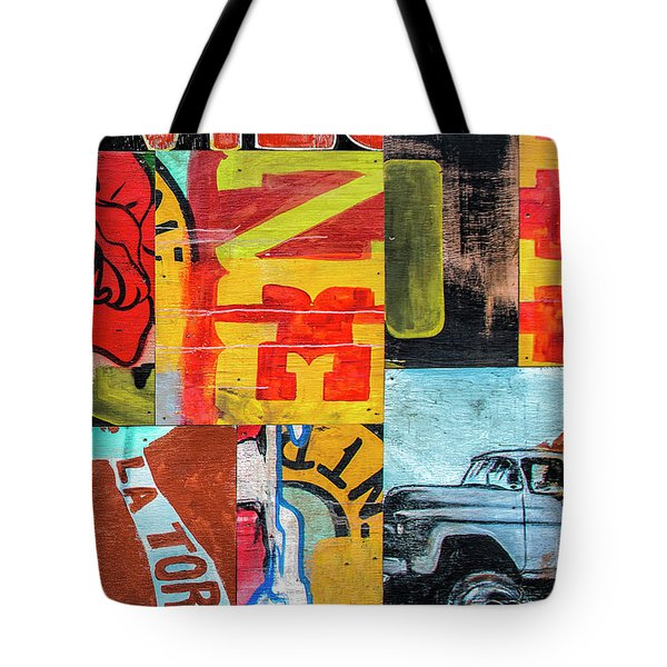 Truck And Roses Tote Bag