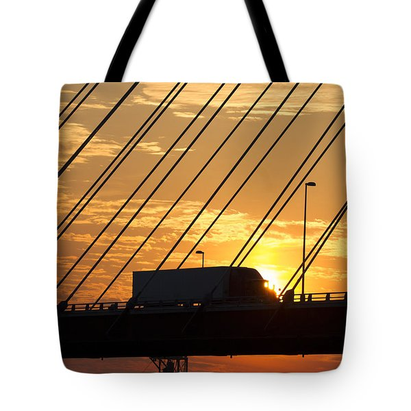 Truck Crossing The Mississippi River Tote Bag