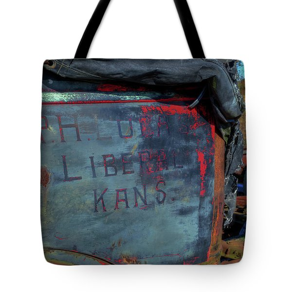 Tote Bag featuring the photograph Truck Door Liberal Ks by Jerry Gammon