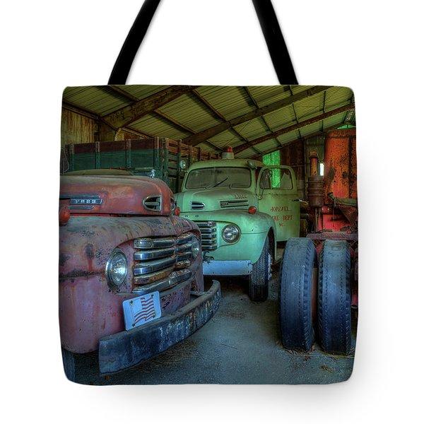 Truck Graveyard Warehouse Tote Bag