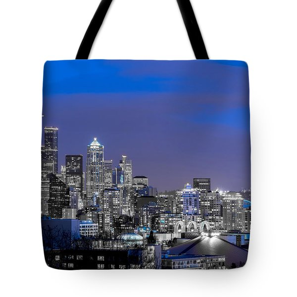 True To The Blue In Seattle Tote Bag by Ken Stanback