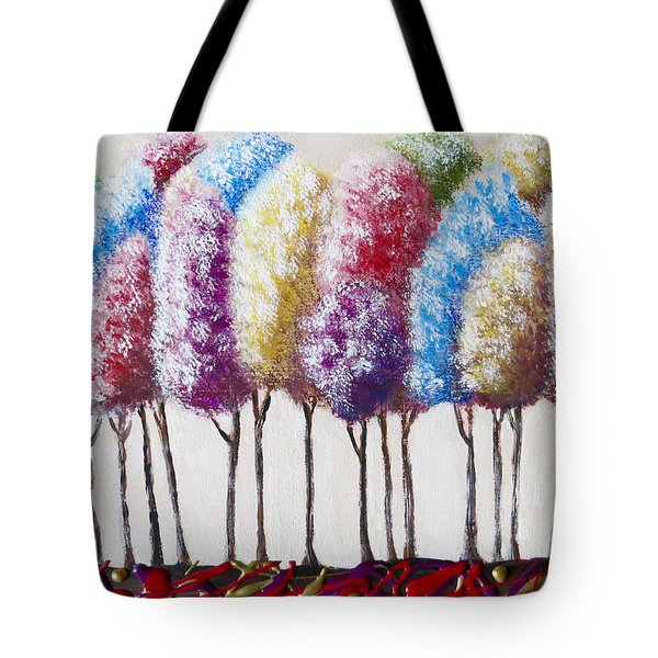 Tote Bag featuring the painting Truffula Forest by Teresa Wing