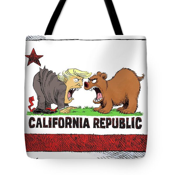 Trump And California Face Off Tote Bag