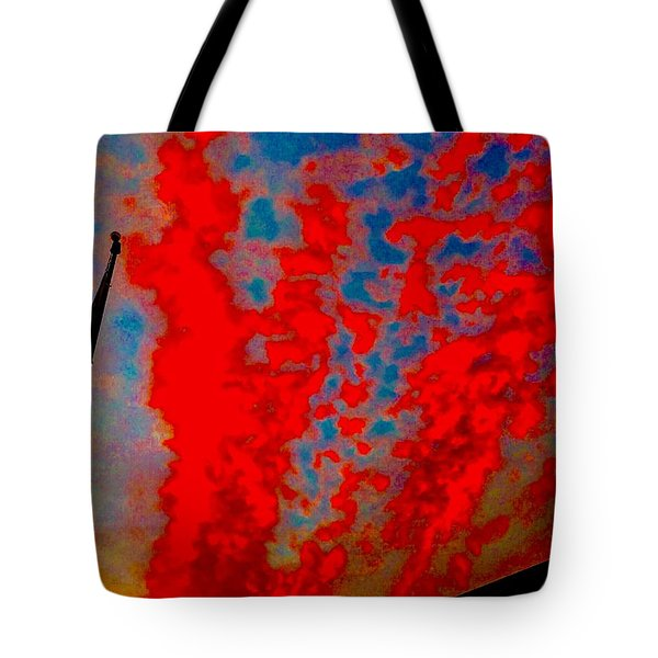 Trump Red Sunset Meets American Flag Tote Bag