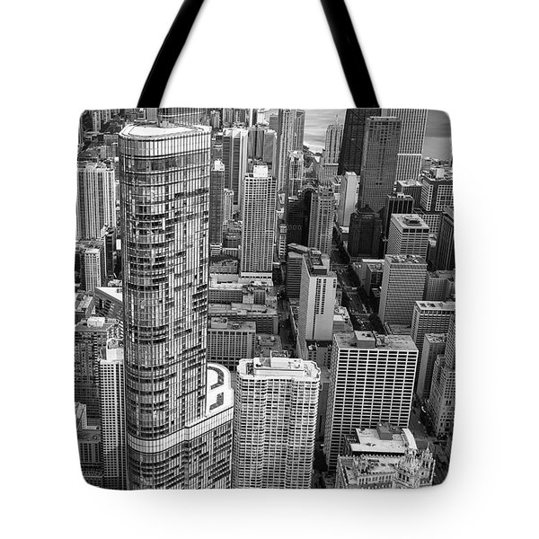 Tote Bag featuring the photograph Trump Tower And John Hancock Aerial Black And White by Adam Romanowicz