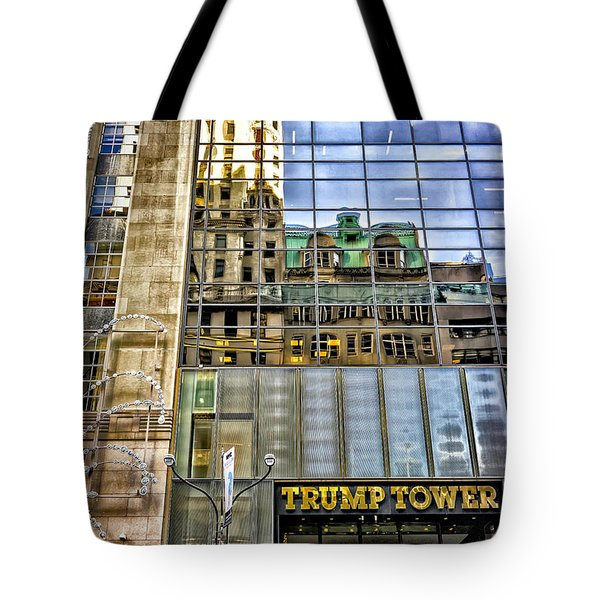 Tote Bag featuring the photograph Trump Tower With Reflections by Walt Foegelle